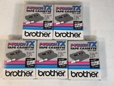 """5x  Brother P-Touch Tape Cassette 50 Ft Tape TX-1311 1/2"""" (12mm) Black on Clear"""