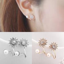 Mujer Elegante Pendientes de botón perla Cristal Aretes oreja Stud Earrings
