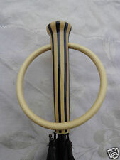 VINTAGE ART DECO INLAID STRIPED CELLULOID LAMINATED HANDLE UMBRELLA OLD ESTATE