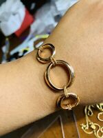 "18K Saudi Gold Rose Gold Womens Bracelet 7"" Long"