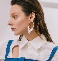 Fashion Women Elegant Gold Long Dangle Pearl Stud Drop Earrings Girl Jewelry New