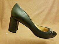 Karl Lagerfeld Sante Women's Black Leather Pump Block Heel Chain Shoes Size 9.5