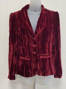 M&S Per Una Marks & Spencer UK10 Eur38 US6 deep red crushed velvet lined jacket