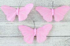 Large Satin Butterflies Butterfly 13 Colours Weddings Crafts Florist Wire Pink 9 Butterflys