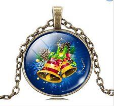 Navidad Campana Foto Cabujón Bronce Vidrio Cadena Colgante Collar SD001