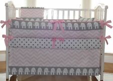 Girl Baby Bedding Grey and Pink elephant 3pc Crib Bedding Set.