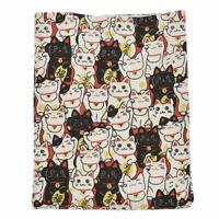 Maneki Neko Japanese Lucky Cat Fabric DIY Quilting Sewing Sheeting 145x45cm