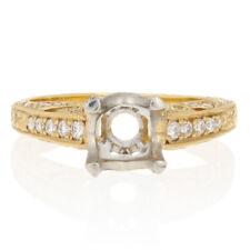 NEW Semi-Mount Engagement Ring - 18k Gold & Platinum Fits 6.5-7mm w/Dias .33ctw