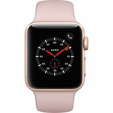 NEW APPLE WATCH SERIES 3 38MM ROSE GOLD CASE PINK SAND SPORT BAND GPS + CELLULAR