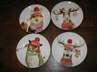 New Set of 4  222 Fifth Small Plates  Fox, Deer, Moose, Owl - Winter Cheer