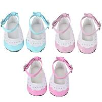 Artificial Leather Flat Shoes with Lace Trim for 18 inch Dolls Baby Kids Gifts