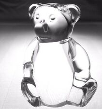 Signed STEUBEN TEDDY BEAR Hand Cooler Paperweight | Vintage Lead Glass Crystal