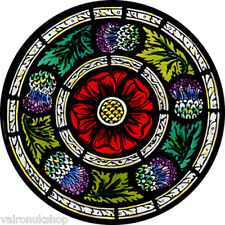 STAINED GLASS WINDOW ART - STATIC CLING  DECORATION - ROSE AND THISTLES