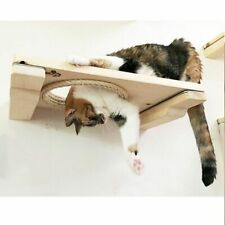 Wall-mounted Cat Climbing Frame Tree House Hammock Wooden Standing Post Decor On