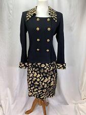St. John Evening Black and Gold Skirt Suit Blazer Sz 6 Skirt Sz 10