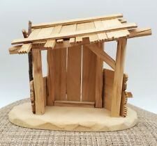 Vintage Anri Italy Nativity Creche Manger Stable Genuine Wood Carved W/Label