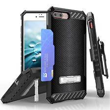 For iPhone 8 Plus,7 Plus Armor Tri Shield Protector Clip Case Carbon Fiber