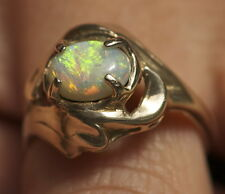 AUSTRALIAN SOLID SEMI BLACK OPAL DRESS RING SET IN 18k SOLID GOLD  -opal_digger-