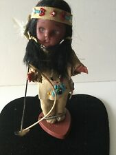 Carlson Vintage Native American Doll Girl Bow Arrow Feather With Stand