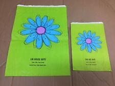 Vintage Hallmark Gift Bag 70s Green Flower 2 Bags