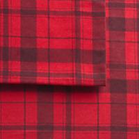 Cuddl Duds Flannel Sheet Set Heavyweight - Red Buffalo Check Plaid (4-Piece Set)