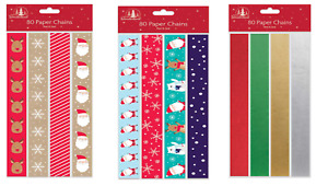 Pack of 80 Printed & Foil Creative Christmas Paper Chains - Christmas Decoration
