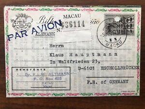 CHINA MACAU OLD COVER AEROGRAMME REGISTERED MACAU TO GERMANY 1917 !!