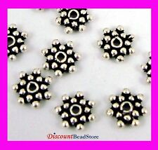 40pcs 5mm Sterling Silver Bali Daisy snowflake  Spacer Bead solid oxidized S08