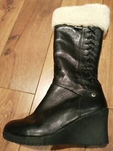 UGG £240 leather wedge sheepskin rubber sole fur lined BOOTS 6