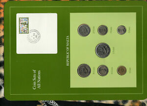 Coin Sets of All Nations Malta All 1986 UNC RARE 1 Pound, 50,25,10,5,2,1 cents
