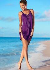 UK Womens Summer Sleeveless Plain Dress Strappy Beach Short Mini Party Sundress XXXS Red