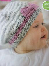 Knitting Pattern To Make 2 Striped Baby Hats In D.K. Needs 1 ball in each colour