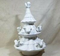 "CHRISTMAS TREE 9 DOVES CANDLE HOLDERS 16 1/2"" LARGE CENTERPIECE CERAMIC POTTERY"