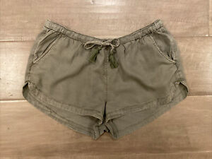 "Aerie Beach Lounge Shorts 2"" Inseam Army Olive Green Pullon Drawstring Pockets M"