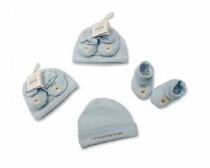 Baby Hat and Booties Cotton Gift Set  - Mummy Hugs - Boys/Girls - Pink/Blue