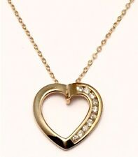 "Solid 9ct 9k 375 Yellow Gold 0.10ct Diamond Love Heart pendant 18"" Belcher Chain"