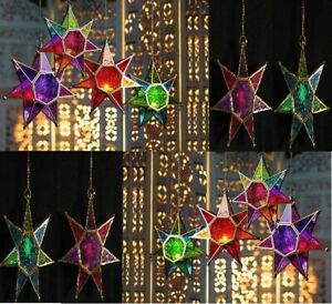 NEW MOROCCAN STAR STYLE TEALIGHT HOLDER COLOUR STYLE CHOICE HANGING GLASS