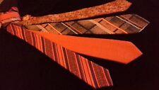 retro vintage x wide neck ties ORANGE TONES SET Whitmont Bernini jacquards '70s