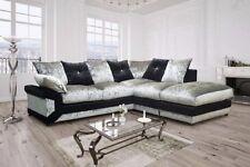 Vargas Corner Sofa & 3 + 2 Seater Sofa Crushed Velvet Black/Silver Or Brown/Mink