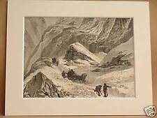SWISS ALPINE CROSSING ANTIQUE MOUNTED ENGRAVING c1890
