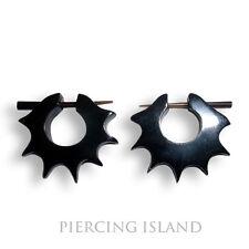 Paar ! Ohrringe Schwarz Creolen Horn Piercing Design Earrings Black ER050