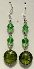 Green Italian Murano Cristello Art Glass Sterling Silver Earrings Reiki Blessed