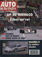 AUTO HEBDO n°832 du 3 Juin 1992 GP MONACO VW CORRADO VR6 MAC LAREN F1