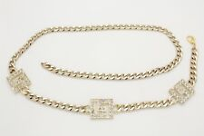 Women Bling Square L Shape Fashion Gold Metal Chain Belt High Waist Hip M L XL