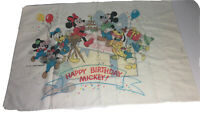 Vintage 1980's Disney Mickey Mouse Happy Birthday Pillowcase Size 2 Sided
