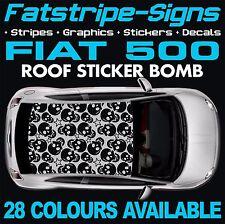 FIAT 500 grafica STICKER BOMB TETTO Decalcomanie Adesivi Strisce 1.0 1.2 ABARTH Teschio