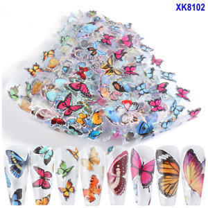 10Pcs 20X4cm Laser Colored Butterfly Daisy Rose Nail Foil Transfer Sticker