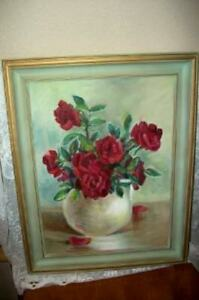 VINTAGE RED ROSES OIL PAINTING 1940's GILT FRAME CHIC SHABBY MID CENTURY