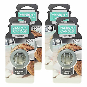 Yankee Candle Car Freshener Smart-Scent Vent Clips, 4-PACK (Coconut Beach)