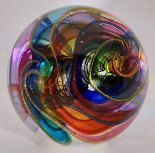 "Wald art glass handmade marble aventurine Lutz contemporary Quadra sphere 3.46"""